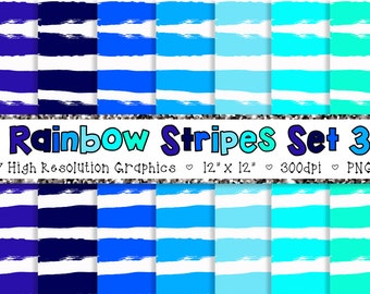 Doodle Stripes Digital Paper Pack in Blue and Green - Personal and Commercial INSTANT DOWNLOAD {SET 3}