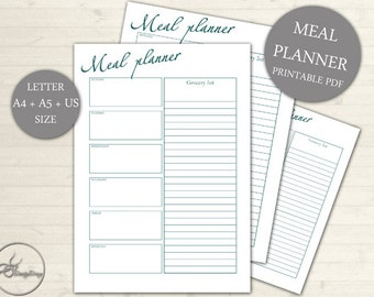 Meal Planner Grocery List Printable Page - Weekly Meal and Shopping Planner Page - US Size A4 A5 - Grocery List, INSTANT DOWNLOAD #102