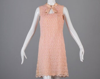 Large 1960s Dress 60s Dress Pink Lace Shift Dress A Line Keyhole Bust Lace Overlay Sleeveless Faded Damaged Costume Theater Woman Vintage