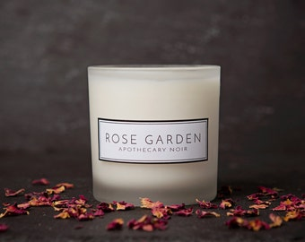 Rose Scented Soy Candle in Frosted Glass with Gift Box