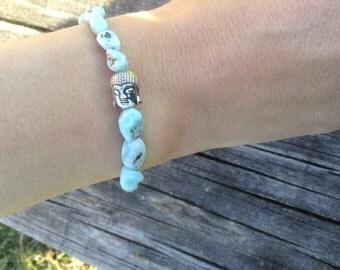 Larimar Bracelet w/ Buddha bead
