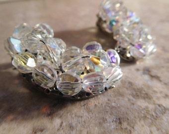 Vintage Aurora Borealis Beaded Clip On Earrings