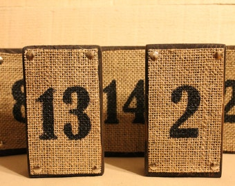 Burlap and Wood Table Numbers