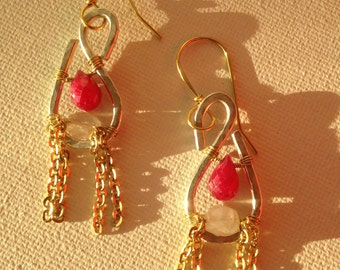 Hand Hammered Sterling Silver Earrings with Ruby and Moonstone.