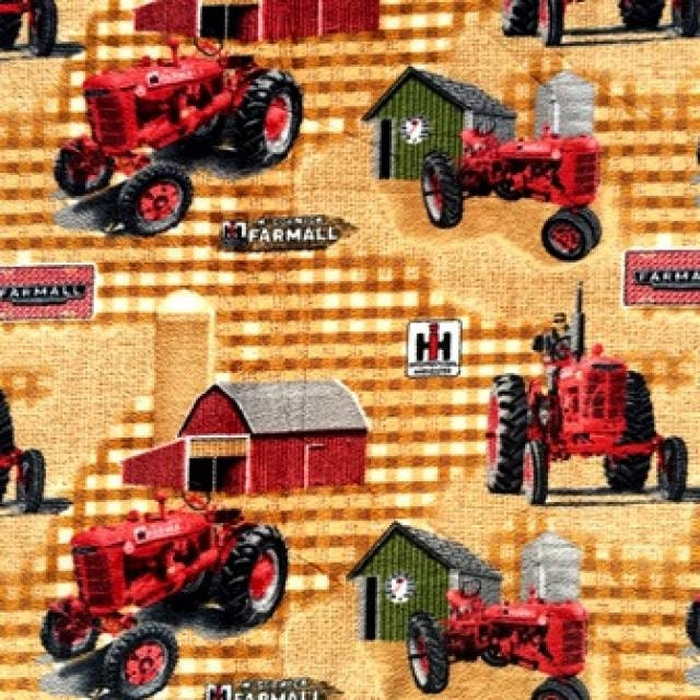 Fleece Fabric Farmall Tractor Farm Country By