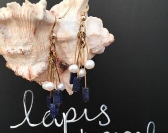 Genuine Lapis and Pearl Earrings