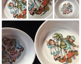 1960's the bobbs-merrill co. Bowls. Vintage, raggedy ann, raggedy andy, collectors, children. FREE SHIPPING