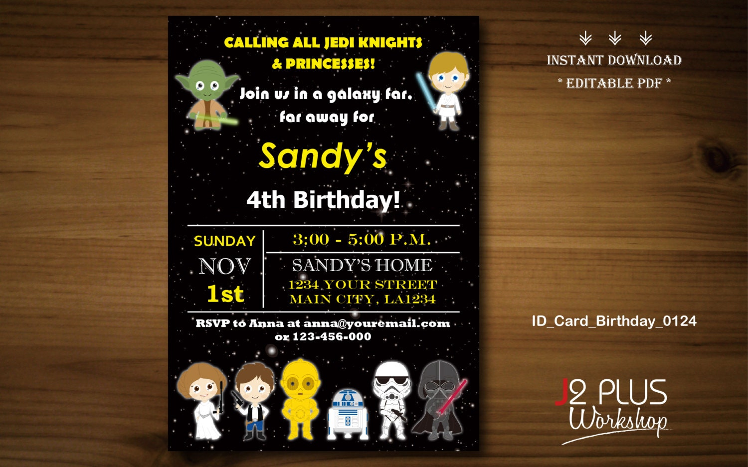 INSTANT DOWNLOAD Star Wars Birthday Invitation Card Star - Star wars birthday invitation diy