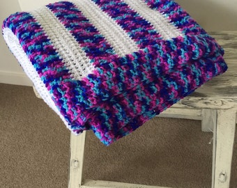 Knitted Blanket / Throw - Purple, blue and white