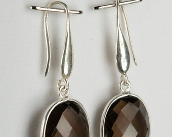 B001-010-001 Handmade Sterling Silver Hoop Earrings Smokey Quartz November Birthstone