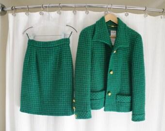 Vintage Green Celine Skirt Suit with Gold Detailing