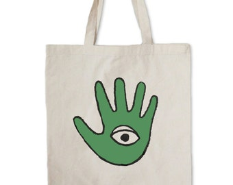 Big Alien Classic Logo Tote --  Hand and eye tote bag -- Canvas Tote | Eye tote | Hand Tote