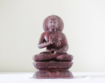 Wooden Blessing Buddha- Abhaya Mudra, Protection, Reassurance, Blessing