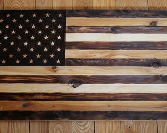 Woodburned American Flag