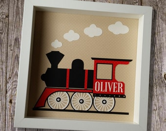 Personalised steam train framed papercut name picture