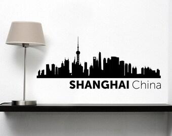 Shanghai City Skyline Vinyl Decal