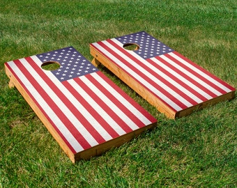 American Flag Cornhole Board Set with Bean Bags