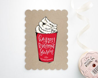 Holiday Card Set - Hand Illustrated Peppermint Latte on Kraft - Christmas Cards - Coffee Lover
