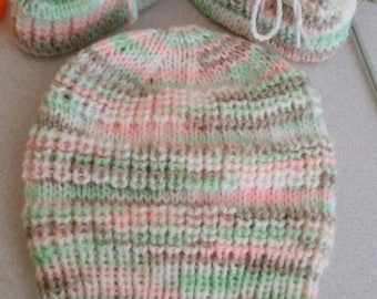 Knitted baby booties and hat, size 3-6 months, multicolor, for girl