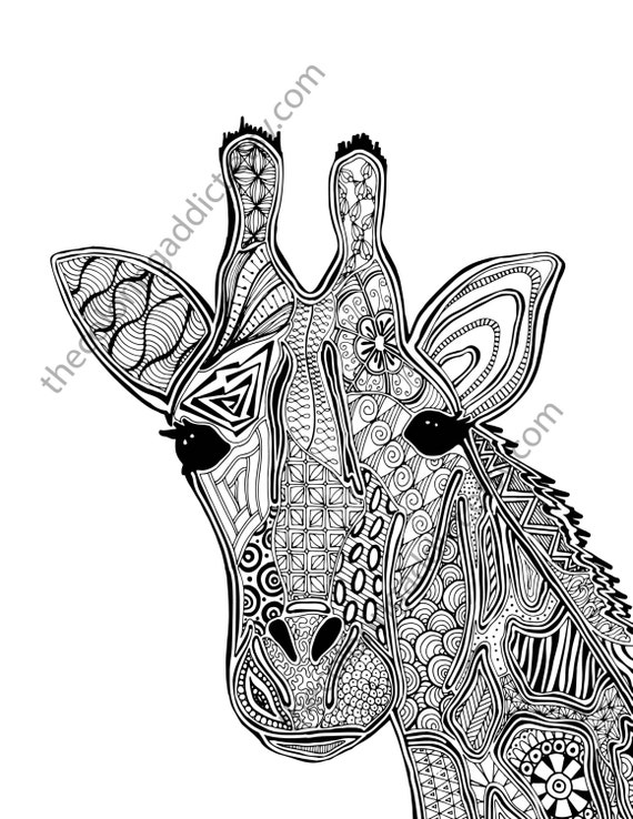Giraffe Coloring Page Animal Coloring Page Adult Coloring