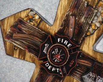 """FIREMAN CROSS, 14 1/2"""" x 23"""" HANDMADE ,cross, wooden cross"""