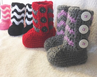 Crochet booties, Chevron, Button booties, Valentine's Day, Valentine, Easter, Baby Booties, Toddler booties, Adult slippers, boots