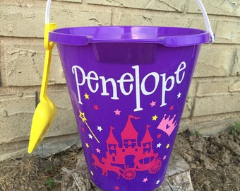 Custom Princess Castle Beach Bucket/ Beach Pail/ Sand Bucket/ Sand Pail