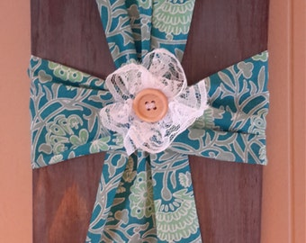 Fabric Cross Wall Decor with lace flower
