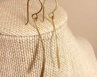 Solid 14 k gold hammered dangle earrings