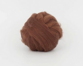 SaddleBrown B180 1.77oz (50gr), 19mic Extra Fine Merino Wool  Felting Wool, For Spinning And Needle Felting.  100% wool.