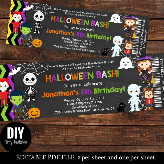 Halloween Ticket Birthday Invitations Kids Party Halloween - Halloween birthday invitations party