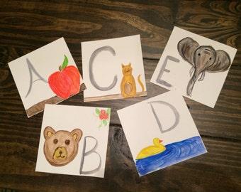 Children's Watercolor Alphabet Cards