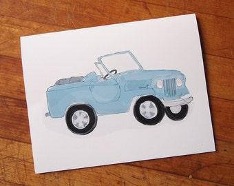 Vintage Blue Jeep