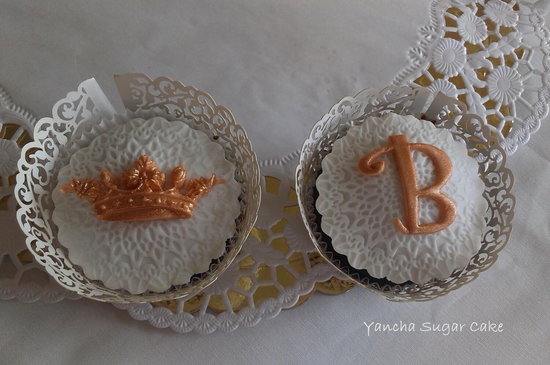 Fondant Edible Cupcake toppers 12 Wedding by YanchaSugarCake