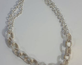 Silver, chain link necklace