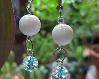 Glass beaded fish hook earrings