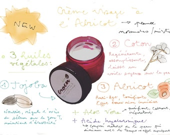 Jojoba face cream, cotton and apricot for normal to combination skin