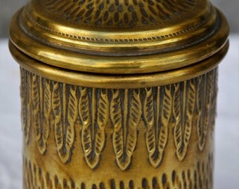 French Brass Tin/Brass Storage Pot/Brass Cannister/Leaf Pattern Canister/Brass Tin/Decorative Brass Tin