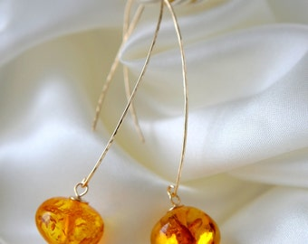 14 mm amber yellow gold GF earrings hammered amber hammered earrings