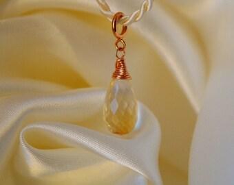 15mm citrine Briolett rose gold filled pendant Citrine Briolette pendant