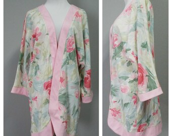 Vintage Womens 80s Popovitch Pastel Floral Dolman Sleeve Cardigan | Size Up to L/XL