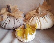 Shabby Chic Harvest Fabric Pumpkins