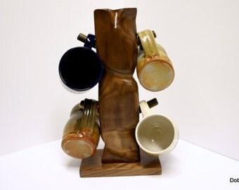 Coffee mug tree. abstract wood unique Modern Wooden Art Sculpture small gift tea cup holder rack functional art dark black walnut wood