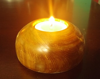 Candle holder made of cedar
