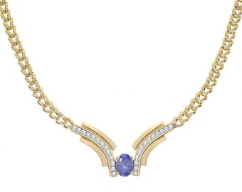 1.50 Carat Diamond and 3.29 Carat Tanzanite V-shaped 14K Yellow Gold Necklace