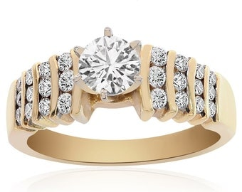 1.00 Carat G-SI1 Natural Round Brilliant Diamond Engagement Ring 14K Yellow Gold