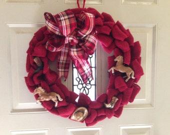 Red Burlap Horse Lovers Wreath, Western Wreath, Horse Wreath, Barn door wreath, Palomino Horse wreath, Barn Decor, Cowgirl Cowboy wreath