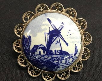 Vintage DELFT Holland Netherlands Dutch Windmill by the Sea, Hand-Painted Porcelain Silver Plated, Brooch Pin