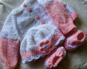 Hand knit Baby Sweater Set 3-6 Months