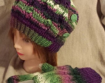 Hand Knit Hat and Gloves